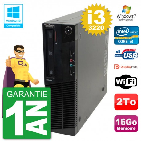 PC Lenovo ThinkCentre M82 SFF i3-3220 RAM 16Go Disque 2To Graveur DVD Wifi W7