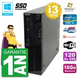 PC Lenovo ThinkCentre M82 SFF i3-3220 RAM 16Go SSD 120Go Graveur DVD Wifi W7