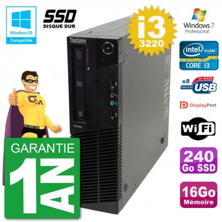 PC Lenovo ThinkCentre M82 SFF i3-3220 RAM 16Go SSD 240Go Graveur DVD Wifi W7