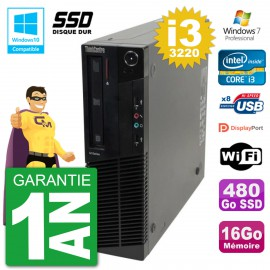 PC Lenovo ThinkCentre M82 SFF i3-3220 RAM 16Go SSD 480Go Graveur DVD Wifi W7
