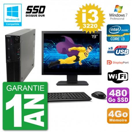 "PC Lenovo M82 SFF Ecran 19"" i3-3220 RAM 4Go SSD 480Go Graveur DVD Wifi W7"