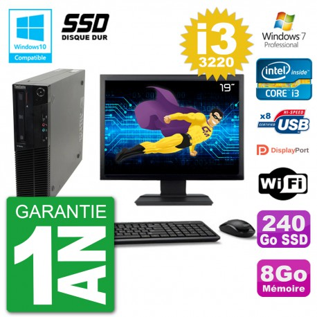 "PC Lenovo M82 SFF Ecran 19"" i3-3220 RAM 8Go SSD 240Go Graveur DVD Wifi W7"