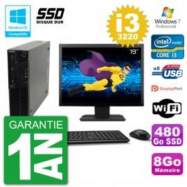 "PC Lenovo M82 SFF Ecran 19"" i3-3220 RAM 8Go SSD 480Go Graveur DVD Wifi W7"