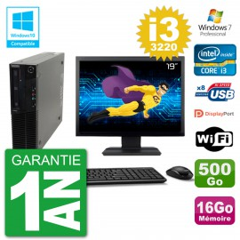"PC Lenovo M82 SFF Ecran 19"" i3-3220 RAM 16Go Disque 500Go Graveur DVD Wifi W7"