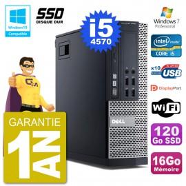 PC Dell 9020 SFF Intel i5-4570 RAM 16Go SSD 120Go Graveur DVD Wifi W7