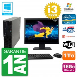 "PC Lenovo M82 SFF Ecran 19"" i3-3220 RAM 16Go Disque 1To Graveur DVD Wifi W7"