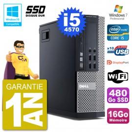 PC Dell 9020 SFF Intel i5-4570 RAM 16Go SSD 480Go Graveur DVD Wifi W7