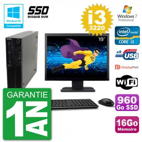 "PC Lenovo M82 SFF Ecran 19"" i3-3220 RAM 16Go SSD 960Go Graveur DVD Wifi W7"