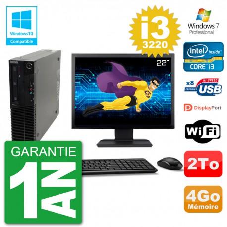 "PC Lenovo M82 SFF Ecran 22"" i3-3220 RAM 4Go Disque 2To Graveur DVD Wifi W7"