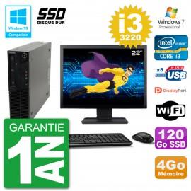 "PC Lenovo M82 SFF Ecran 22"" i3-3220 RAM 4Go SSD 120Go Graveur DVD Wifi W7"