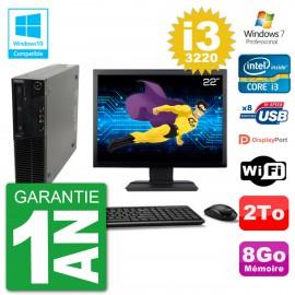 "PC Lenovo M82 SFF Ecran 22"" i3-3220 RAM 8Go Disque 2To Graveur DVD Wifi W7"