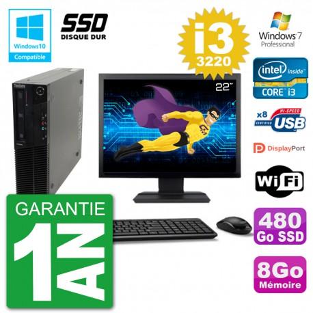 "PC Lenovo M82 SFF Ecran 22"" i3-3220 RAM 8Go SSD 480Go Graveur DVD Wifi W7"