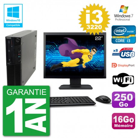 "PC Lenovo M82 SFF Ecran 22"" i3-3220 RAM 16Go Disque 250Go Graveur DVD Wifi W7"