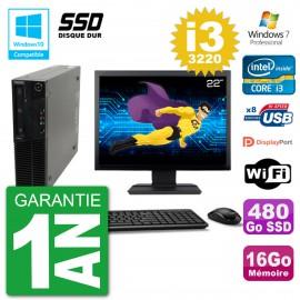 "PC Lenovo M82 SFF Ecran 22"" i3-3220 RAM 16Go SSD 480Go Graveur DVD Wifi W7"