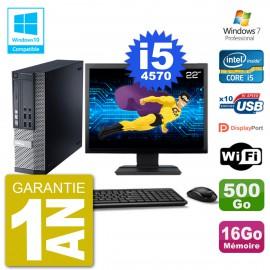 """PC Dell 9020 SFF Ecran 22"""" Intel i5-4570 RAM 16Go Disque 500Go Graveur DVD Wifi W7"""