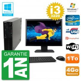"PC Lenovo M82 SFF Ecran 27"" i3-3220 RAM 4Go Disque 1To Graveur DVD Wifi W7"