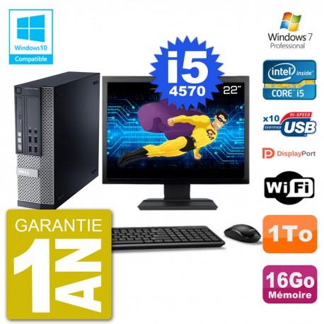 """PC Dell 9020 SFF Ecran 22"""" Intel i5-4570 RAM 16Go Disque 1To Graveur DVD Wifi W7"""