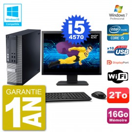 "PC Dell 9020 SFF Ecran 22"" Intel i5-4570 RAM 16Go Disque 2To Graveur DVD Wifi W7"