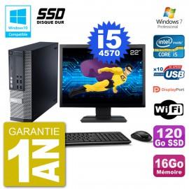 """PC Dell 9020 SFF Ecran 22"""" Intel i5-4570 RAM 16Go SSD 120Go Graveur DVD Wifi W7"""