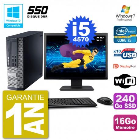"""PC Dell 9020 SFF Ecran 22"""" Intel i5-4570 RAM 16Go SSD 240Go Graveur DVD Wifi W7"""