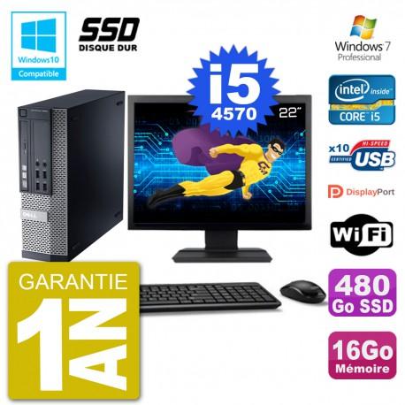 """PC Dell 9020 SFF Ecran 22"""" Intel i5-4570 RAM 16Go SSD 480Go Graveur DVD Wifi W7"""