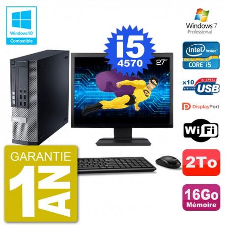 """PC Dell 9020 SFF Ecran 27"""" Intel i5-4570 RAM 16Go Disque 2To Graveur DVD Wifi W7"""