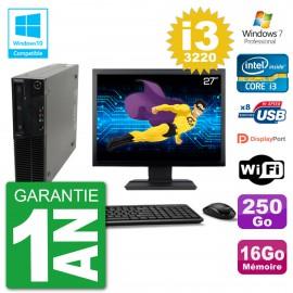 "PC Lenovo M82 SFF Ecran 27"" i3-3220 RAM 16Go Disque 250Go Graveur DVD Wifi W7"