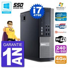 PC Dell 9020 SFF Intel i7-4790 RAM 4Go SSD 240Go Graveur DVD Wifi W7