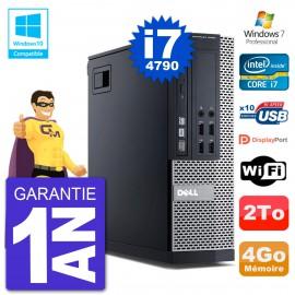 PC Dell 9020 SFF Intel i7-4790 RAM 4Go Disque 2To Graveur DVD Wifi W7