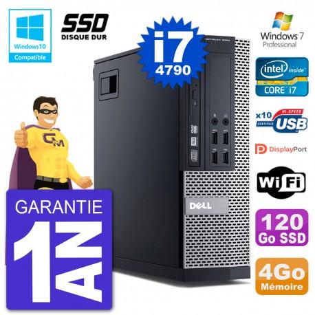 PC Dell 9020 SFF Intel i7-4790 RAM 4Go SSD 120Go Graveur DVD Wifi W7