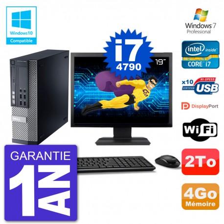 """PC Dell 9020 SFF Ecran 19"""" Intel i7-4790 RAM 4Go Disque 2To Graveur DVD Wifi W7"""