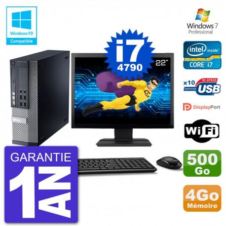 """PC Dell 9020 SFF Ecran 22"""" Intel i7-4790 RAM 4Go Disque 500Go Graveur DVD Wifi W7"""