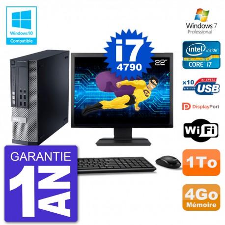 """PC Dell 9020 SFF Ecran 22"""" Intel i7-4790 RAM 4Go Disque 1To Graveur DVD Wifi W7"""