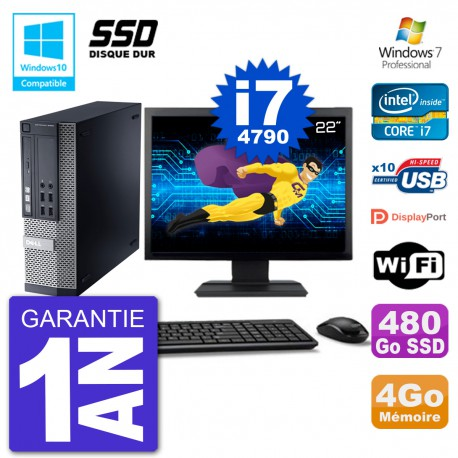 """PC Dell 9020 SFF Ecran 22"""" Intel i7-4790 RAM 4Go SSD 480Go Graveur DVD Wifi W7"""