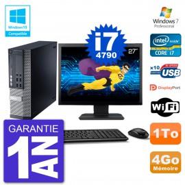 """PC Dell 9020 SFF Ecran 27"""" Intel i7-4790 RAM 4Go Disque 1To Graveur DVD Wifi W7"""