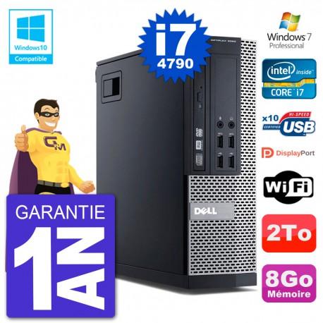 PC Dell 9020 SFF Intel i7-4790 RAM 8Go Disque 2To Graveur DVD Wifi W7