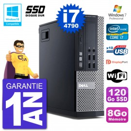 PC Dell 9020 SFF Intel i7-4790 RAM 8Go SSD 120Go Graveur DVD Wifi W7