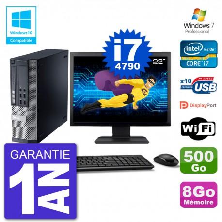 """PC Dell 9020 SFF Ecran 22"""" Intel i7-4790 RAM 8Go Disque 500Go Graveur DVD Wifi W7"""