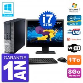 """PC Dell 9020 SFF Ecran 22"""" Intel i7-4790 RAM 8Go Disque 1To Graveur DVD Wifi W7"""