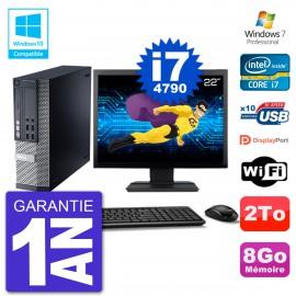 """PC Dell 9020 SFF Ecran 22"""" Intel i7-4790 RAM 8Go Disque 2To Graveur DVD Wifi W7"""