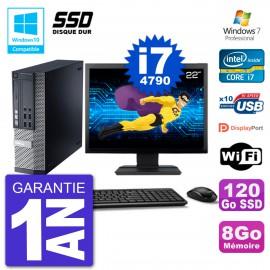 """PC Dell 9020 SFF Ecran 22"""" Intel i7-4790 RAM 8Go SSD 120Go Graveur DVD Wifi W7"""