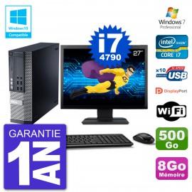"""PC Dell 9020 SFF Ecran 27"""" Intel i7-4790 RAM 8Go Disque 500Go Graveur DVD Wifi W7"""