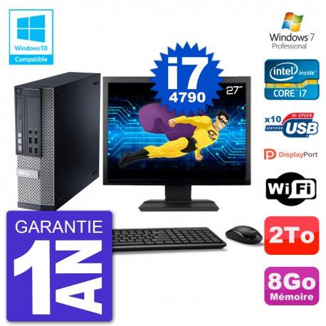 """PC Dell 9020 SFF Ecran 27"""" Intel i7-4790 RAM 8Go Disque 2To Graveur DVD Wifi W7"""
