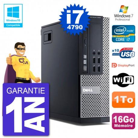 PC Dell 9020 SFF Intel i7-4790 RAM 16Go Disque 1To Graveur DVD Wifi W7