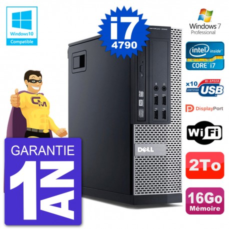 PC Dell 9020 SFF Intel i7-4790 RAM 16Go Disque 2To Graveur DVD Wifi W7