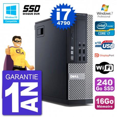 PC Dell 9020 SFF Intel i7-4790 RAM 16Go SSD 240Go Graveur DVD Wifi W7