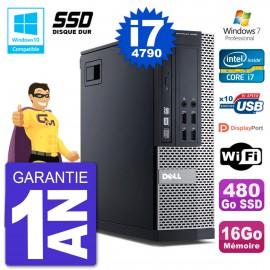 PC Dell 9020 SFF Intel i7-4790 RAM 16Go SSD 480Go Graveur DVD Wifi W7