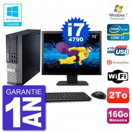 """PC Dell 9020 SFF Ecran 19"""" Intel i7-4790 RAM 16Go Disque 2To Graveur DVD Wifi W7"""