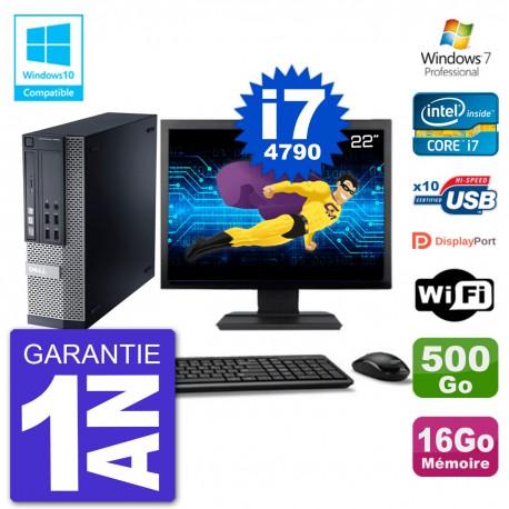 """PC Dell 9020 SFF Ecran 22"""" Intel i7-4790 RAM 16Go Disque 500Go Graveur DVD Wifi W7"""