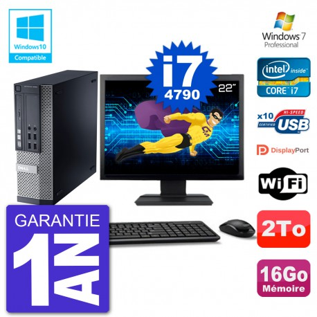 """PC Dell 9020 SFF Ecran 22"""" Intel i7-4790 RAM 16Go Disque 2To Graveur DVD Wifi W7"""